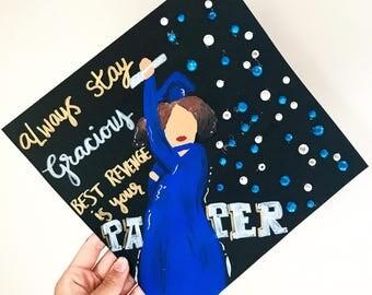 Custom graduation cap, handpainted grad cap, custom graduation cap design, graduation, class of 2017, graduation day, college grad gifts
