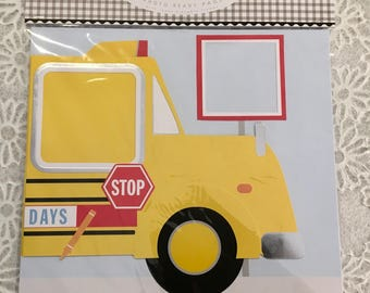 School Bus 12x12 Photo-Ready 2 Pages by Meri Meri with reposition Photo Frames