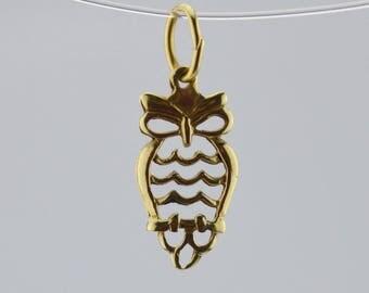 14k Yellow Gold Vintage Open Work Owl Pendant(01454)