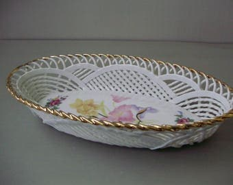 Vintage inwrought porcelain heart form bowl,candy plate,dish
