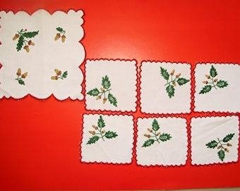 Vintage,Hungarian handmade embroidered set,centerpiece and Coasters ,acorn  pattern