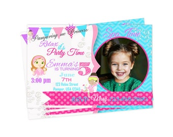 Spa Party Invitation, Custom Spa Invitations, Spa Party Printable, Pamper Party, Girl invite