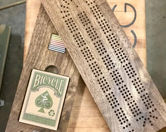 Cribbage Board, Handmade from Walnut, Continuous Three Track, 2 Piece Board with Internal Metal Playing Pegs and Card Storage