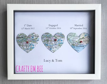 We Met, We Married, We Live • Map Heart Picture Print • First Anniversary