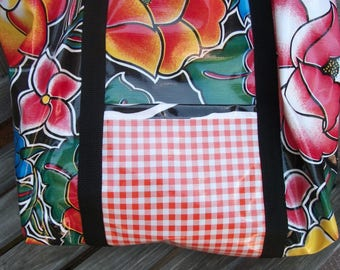 Vintage Look Oilcloth Large Tote