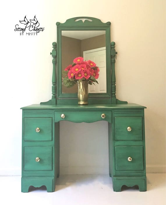 Vintage Vanity with Mirror 1940s Emerald Green Solid Wood