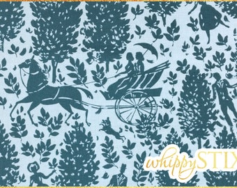 Romantic Victorian Fabric By the Yard, Cameo Folly in Zinc Amy Butler Westminster Fabrics PWAB092, BTY Horse Carriage Cotton Material