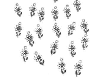 20PC. DAISY Antique Silver tone plated charm//Adjustable Expandable Designer Inspired Wire Bracelet Charms//19MM X 9MM