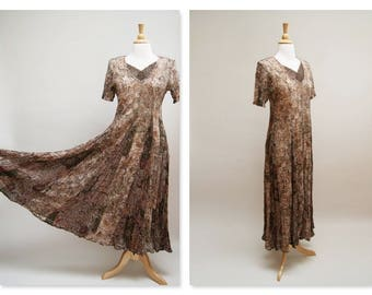 1990s Lace Maxi Dress ⎮ Grunge Gauzy Floral Panel Dress  ⎮  Boho Gypsy Maxi Dress With Slip