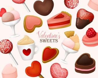 Valentine's Day clipart. Valentines Day sweets and desserts clip art. Cakes, candy, ice cream clip art collection. Vector graphic.
