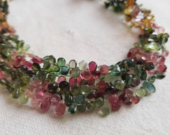 Multi Tourmaline Pear shaped Beads 8 inch Strand AAA quality