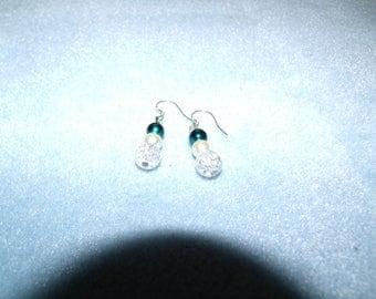 blue ,pearl, crystal dangles