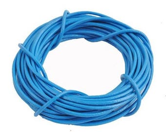 Blue genuine leather cord 2 mm - 1 M