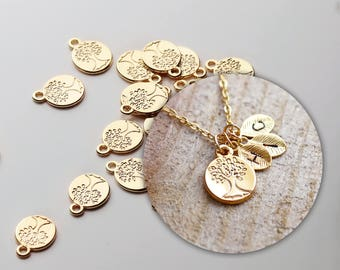 4 Pcs Gold Family Tree Jewelry Charm Necklace Supply Coin Disc 4PCFT-G