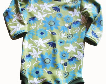 Organic Long Sleeves Baby Bodysuit with Green Trim - 3-9 months