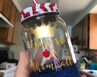 Fairest of them all Snow white glitter dipped 16 oz mason jar tumbler // Disney princess // customizable