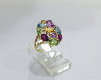 3ctw,natural,multi gemstones,diamonds,10k gold,flower ring,size 7