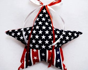"""Hand crafted 8"""" Patriotic star red white blue Christmas tree topper"""
