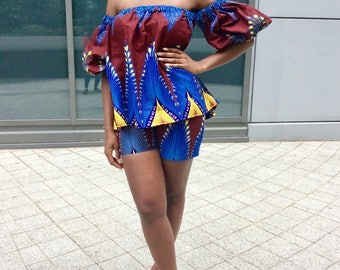 African clothing Ankara Shorts and matching top
