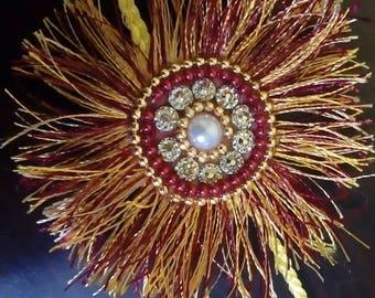 Maroon Yellow and Gold Silk Thread Rakhi