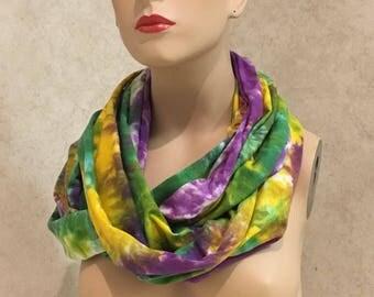 Mardi Gras Scarf - Cotton Jersey Tie Dyed Infinity Scarf