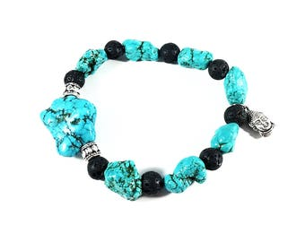 Chunky Turquoise~ Handmade Stretch Charm Bracelet~ Genuine Turquoise & Black Lava~ Sterling Silver Tube Bead~ For Men or Women~ Buddha Charm