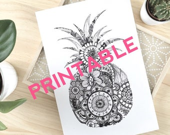 PRINTABLE pineapple black and white zentangle