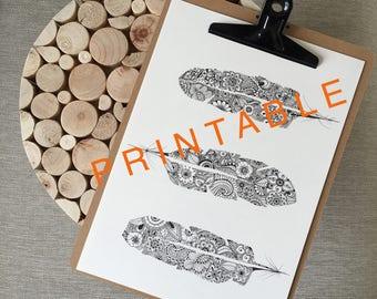 Printable 3 feathers zentangle