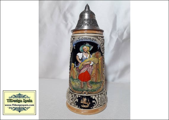 Beer Stein, Four Seasons Series Summer Beer Stein, Beer stein for sale, Beer stein with lid, Beer stein from Germany, German beer mugs