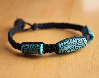 Black Hemp Bracelet with Tribal Turquoise Beads - Beaded Macrame Bracelet - Comfortable and Casual Jewelry for Him or Her