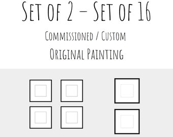 Commissioned Small Abstract Original Painting Canvas Wall Art Set of 2 Set of 3 Set of 4 Set of 6 Set of 9 Minimalist Modern Contemporary