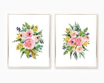 Baby Girl Nursery Prints. Floral Watercolor Wall Art. Floral Nursery Art. Girl Nursery Printable. Nursery Art Girl. Watercolor Flower Prints
