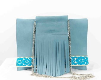 blue vachetta leather MANON Pouch