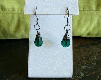 Teal dangle earrings