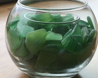 CANDLE HOLDER - kelly green sea glass