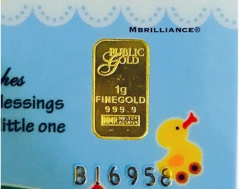 24k solid 999.99 gold bar bullion 1 gram authentic fine Gold For baby bounty gift card certificate of authenticity