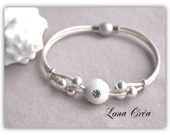 Bracelet Beige Pearl - silver Zamak and resin - beads leather cord magnetic clasp