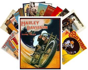 Postcard Pack (24 cards) Harley Davidson Bike Vintage Advert Poster Ads CC1023