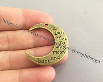 wholesale 50 Pieces /Lot Antique Bronze Plated 28mmx30mm I Love You to the Moon and Back charms(# 0176)
