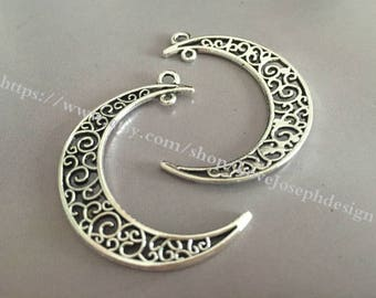 wholesale 100 Pieces /Lot Antique Silver Plated 22mmx30mm moon charms (#017)