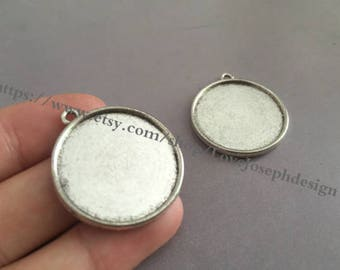 Wholesale 20 Pieces /Lot Antique Silver & Bronze Plated 20mm(both side) cabochon bezel trays charms(#0394)