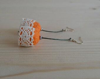 Papier-mâché orange earrings