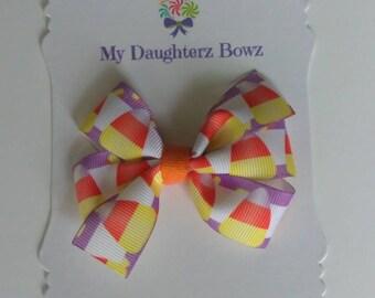 """Halloween hair bow set- 2 hair bows - pigtail hair bow set - Candy Corn hair bow - 3"""" hair bow -  hair clip set - school bow"""