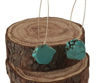 NEW! Turquoise stone drop earrings / sparklingwire / wirewrappedbangles