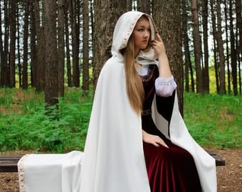 Hooded cloak, fantasy costume, wedding cloak, fantasy cape, fantasy cloak, elven cloak, celtic braid, medieval cloak, ready to ship