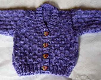 Purple baby cardigan, approx 18 inch chest.