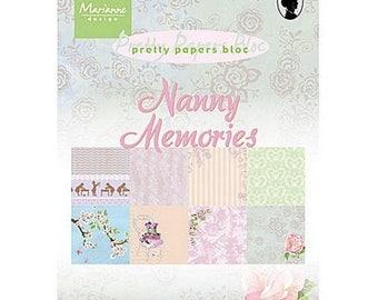 Block of 32 paper 15 x 21 cm MARIANNE DESIGN NANNY MEMORIES