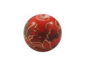 7 ceramic beads, round porcelain 1 cm red DECORATION