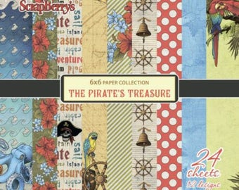 24 papers 15.2 x 15.2 cm SCRAPBERRY's THE PIRATE's TREASURE