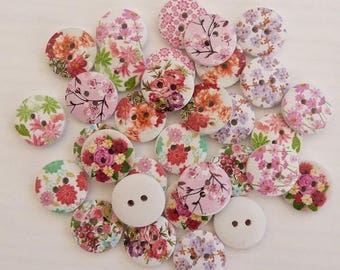 10 round buttons wood 1.7 cm sewing / scrapbooking MIX flower